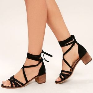 ☾Steve Madden Revere Suede Leather Lace-Up Heels